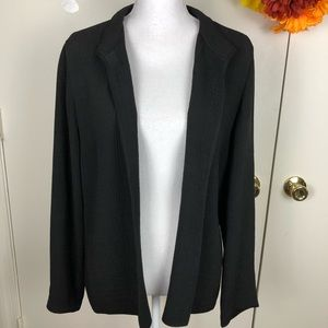 EILEEN FISHER TEXTURED OPEN JACKET POCKETS SZ MED